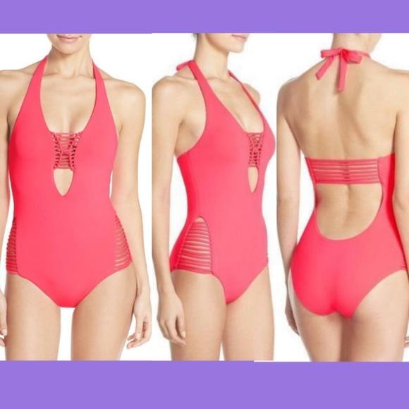 a84139851af BECCA Swim   Nwt Halter One Piece Suit Poppy Medium   Poshmark
